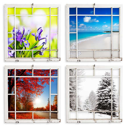 beach window: Spring, summer, fall and winter views through grungy window frames. Clipping paths for frames