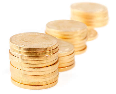 south african: Stacks of gold coins - South African Krugerrands, isolated