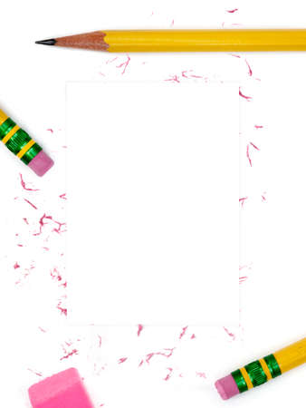 No. 2 pencils and erasers as border photo