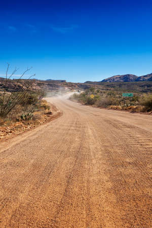 tonto national forest: The Apache Trail past Tortilla Flat becomes a dirt road for a stretch through the Tonto National Forest, Arizona Stock Photo
