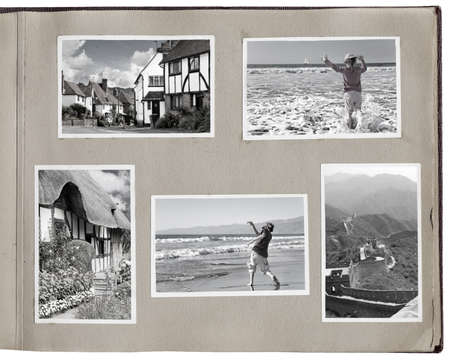 photo album: 1930s photo album with rough pages and photo prints (people are model released). Clipping paths for photo interior and photo frame exterior