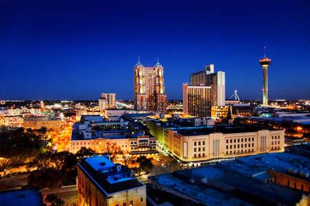 antonio: San Antonio downtown just after sunset showing skyline around Tower of the Americas & city lights Stock Photo