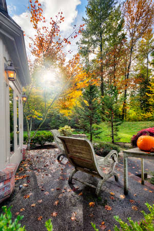 Fall sunshine on suburban patio and garden photo