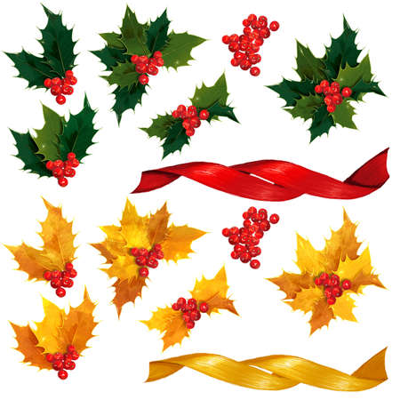 holly leaves: Natural and Gold holly leaves, berries and ribbon