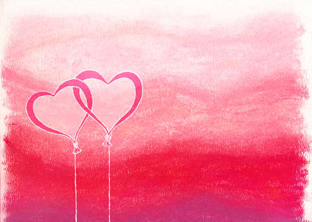 Drawn heart shaped balloons over pink & red chalk pastel background photo