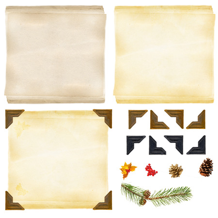 photo: Old paper, photo corners and decorations for do it yourself backgrounds Stock Photo