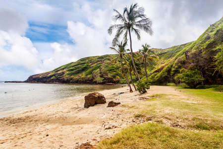 The far end of the beach at Hanauma Bay, Honolulu, Oahu, Hawaii photo