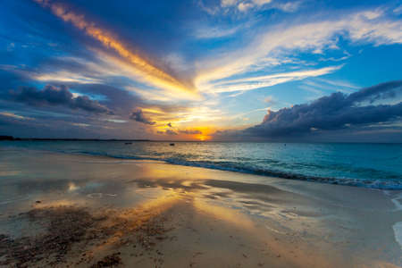 Sunset clouds over Grace Bay Beach (by Park on Princess Drive), Providenciales, Turks and Caicos Islands photo