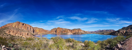 tonto national forest: Canyon Lake, one of four reservoirs formed by the Mormon Flats Dam on the Salt River, is part of the Tonto National Forest, a 3 million acre area in Arizona.