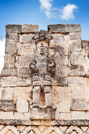 restored: Partially restored statue of a Mayan warrior at Codz Poop, Kabah, Mexico