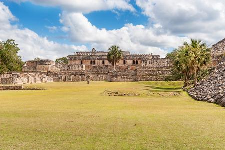 restored: Partially restored Mayan ruins of Lower Plaza at Kabah, Mexico