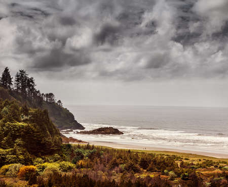 blustery: Beards Hollow, Cape Disappointment State Park, Washington on a blustery June day Stock Photo