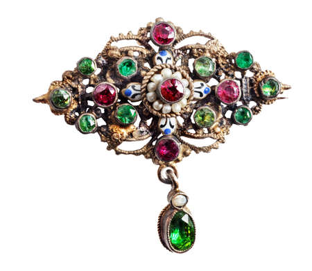 semi precious: Rough-hewn antique brooch with semi precious stones