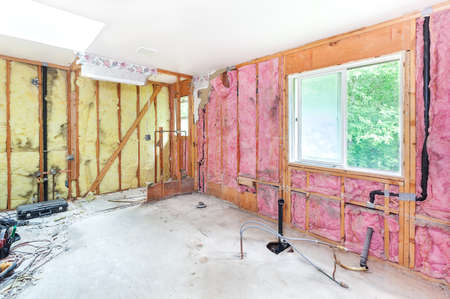 subflooring: Master bathroom demolished leaving studs, insulation and plywood subflooring