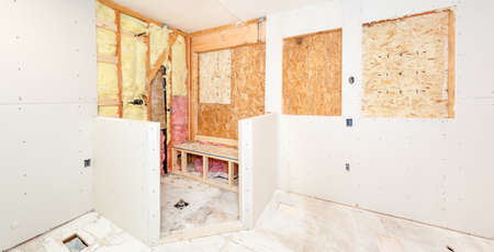 shower stall: Bathroom walls and shower stall pony walls covered with drywall Stock Photo