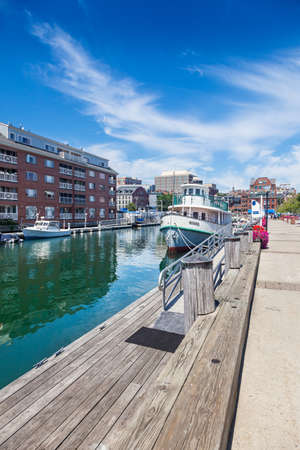 old port: Old Port at Chandlers Wharf, Portland, Maine Stock Photo