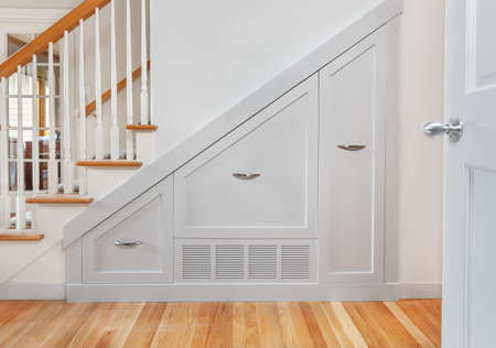 kitchen cabinets: Gliding under stair pullout cabinets for kitchen small appliance storage