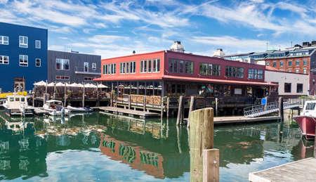 old port: Restaurant and docks in Old Port, Portland, Maine
