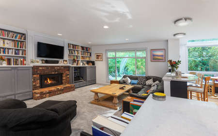 family  room: Fire lit in the remodeled family room