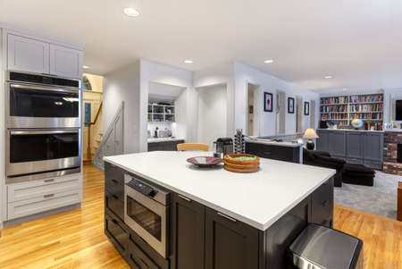 family  room: Remodeling of open kitchen and family room complete Stock Photo