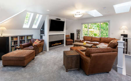 fire surround: Reading corner under the skylights in remodeled media room