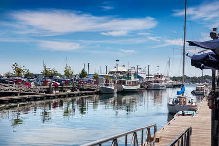 wharf: Summer lunchtime on Chandlers Wharf, looking over to Long Wharf, Portland, Maine Stock Photo