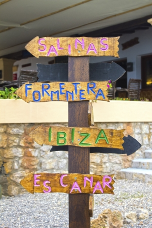 Which direction you need to take in Ibiza  Salinas  Formentera  Ibiza  Es Canar  Stock Photo