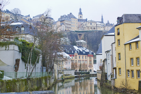 neighbourhood: Grund Neighbourhood in Luxembourg on winter Stock Photo