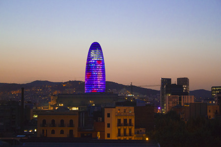 mediterranean countries: Barcelona at sunset Editorial