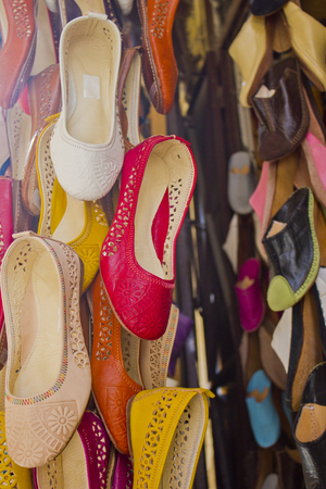 moroccan culture: Traditional Moroccan shoes in a bazaar of Fez, Morocco