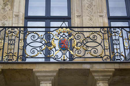 duke: Coat of arms of Luxembourg at the palace of the Grand Duke in Luxembourg City.