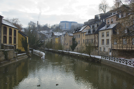 View from a bridge in the cold Luxembourg on winter
