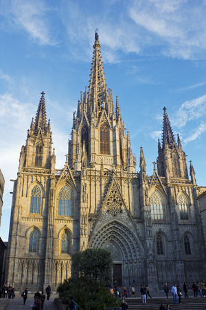 barcelona cathedral: Barcelona Cathedral at sunset