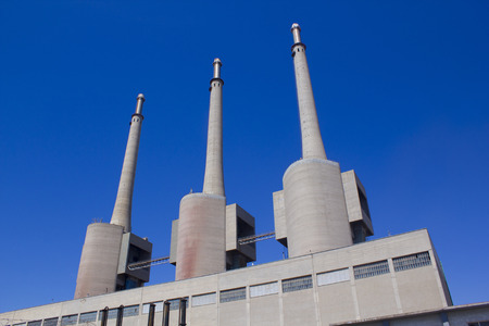 cement chimney: Thermal power plant in Sant Adria Barcelona, Catalonia, Spain