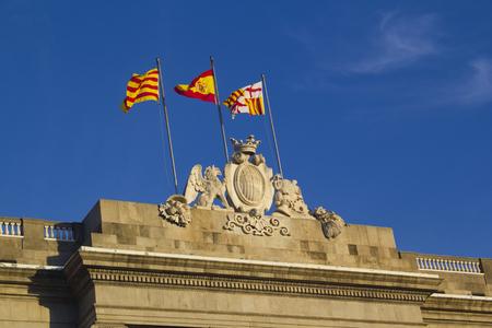generalitat: Flags at the Generalitat Palace Editorial