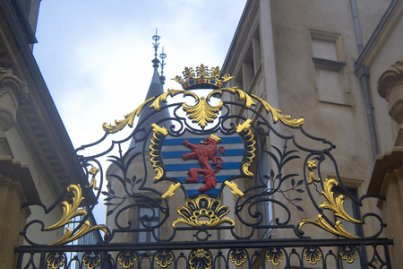 shield: The Coat of arms of Luxembourg Editorial