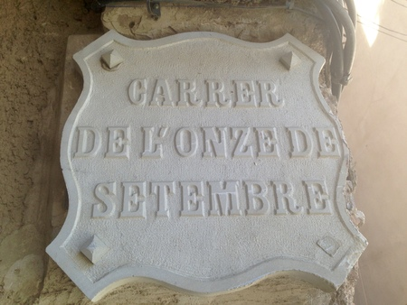 The onze de setembre street, commemoration of the national catalan day