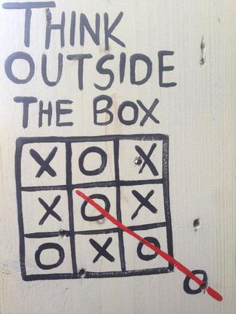 thinking outside the box: Thinking outside the box Stock Photo