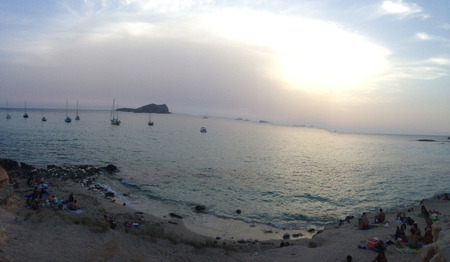 View of Cala Comta, Ibiza during the sunset