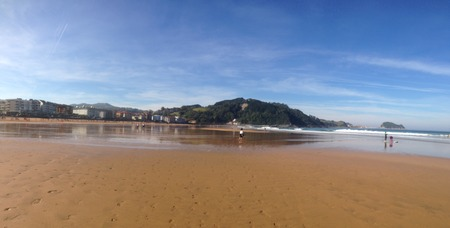 Panoramic view of the beautiful beach of Zarautz in Basque Country, Spain