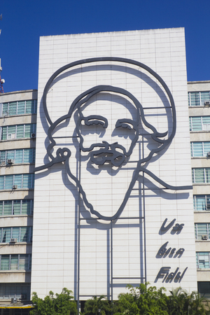 Ministry of the Comunications building with face of Camilo Cienfuego at the Revolution Square