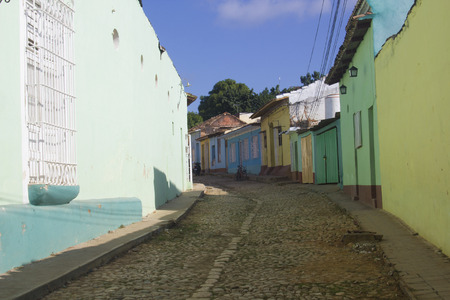 View of a coloured street in Trinidad, Cuba, the famouse country in the Caribbean sea