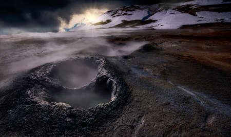 Námafjall Hverir geothermal field in iceland Stock Photo