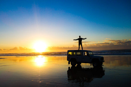 land vehicle: Sunrise in Fraser Island, Australia. Fraser Island is the largest sand island in the world and one the most beautiful places to visit in Queensland.