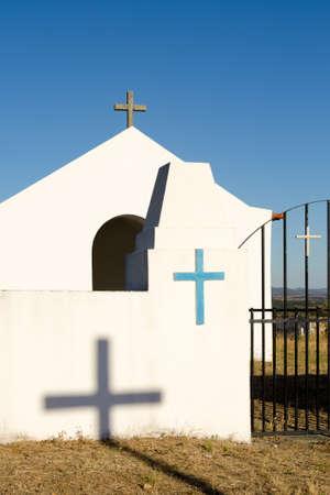 Crosses on a christian white chapel in Malpica do Tejo, Portugal Stock Photo