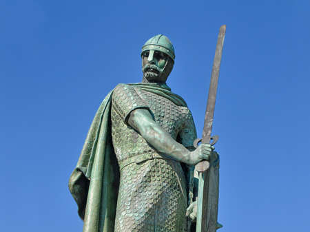 Statue of the first king of Portugal, Dom Afonso Henriques in Guimaraes, Portugal