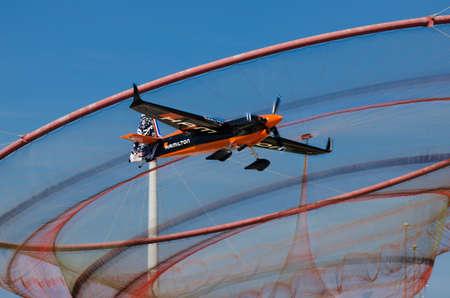 Red Bull Air Race 2017 Porto - Nicolas Ivanoff plane flying against landmark anemona