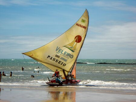 Traditional boat calle jangada in Ceara, Brazil