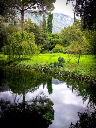 beautiful reflection in Giardini di Ninfa, Italy