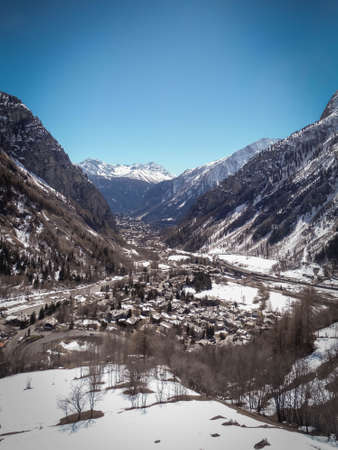 Beautiful aerial view of Chamonix in a winter day withe clear skies, no clouds in France